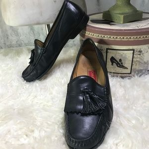 Cole Haan Black Leather Tassel Loafers Shoes 11.5